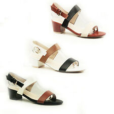 WOMENS LADIES STRAPPY SLINGBACKS MID HIGH BLOCK HEEL SHOES SANDALS SIZE 3-8