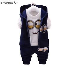 Brand Boys Girls Baby 1-4 Yellow 3piece Suit Kids Clothes Despicable Me 2 Minion