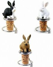 RABBIT WINE BOTTLE STOPPER ~ Hand Painted Stone Resin with Pewter Base~ 3 Colors