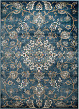 NEW (#405) MODERN AREA RUG- BLUE FLORAL ORIENTAL-APRX SIZES: 2X3, 2X7, 4X5 & 5X7