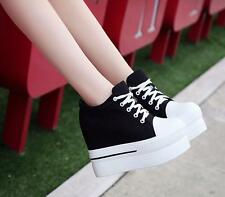 Womens Platform Wedge Muffin Lace Up Shoes Casual Canvas High Heel Sneakers New