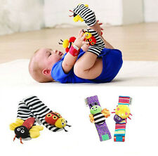 New Baby Infant Developmental Soft Wrist Strap Foot Socks Rattle Bug Finders Toy