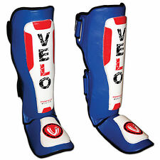 VELO Leather Gel Shin Instep Pads MMA Leg Foot Guards Muay Thai Kick Boxing UFC