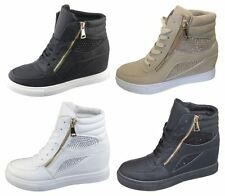 Womens Ladies Girls Diamante Wedge Heel Ankle High Top Trainers Sneakers Shoes