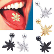 Unisex Leaf Barbell Tongue Ring Stainless Steel Body Piercing Jewelry Frugal