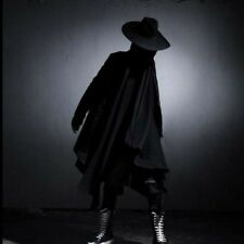 Mens gothic loose cotton cloak long hooded coat punk cardigan dark cape Jacket