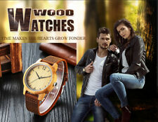 Hot Sale Wooden wristwatches Bamboo Case Genuine Leather strap For Men Women