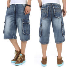 Mens Shorts Jeans Cargo Shorts Denim Relaxed Fit Work Baggy Plus Size 30-46W 13L