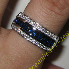 Classic Mens Jewelry Blue Sapphire 10KT White Gold Filled Band Gem Ring Sz 8-12