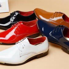 Mens Business Pointed Shinny Patent Leather Dress Shoes Lace Up Big Yard Oxfords
