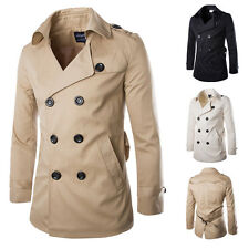 Mens Cotton Blends Trench Coat Thin Long Jacket Double Breasted Overcoat Topcoat