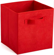 Collapsible Fabric Storage Bin Cube Kids Room Toy Home Organization Silver Red