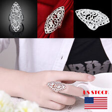 US Fashion Women 925 Sterling Silver Big Rings Jewelry Plating Hollow Out Rings