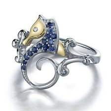 Vtg Blue Topaz Sea Horse 925 Silver Ring Men Women Engagement Wedding Size 6-10