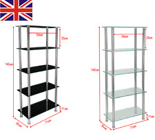 5 Tier Black Clear Glass Shelving Unit Bookcase with Chrome Legs Display Unit