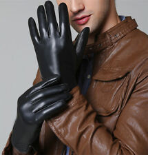 Mens Classic Tough-Screen Driving Gloves Soft 100% Real Lambskin Leather Black