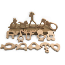 Cute Safe Natural Wooden Animal Shape Ring Baby Teether Teething Toy Shower Cool