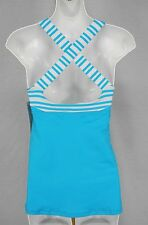 NEW LULULEMON TRACK AND TRAIN Tank Top 12 Spry Blue Twin Stripe NWT FREE SHIP
