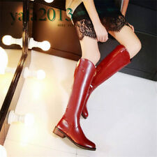 New Women's Round Toe Military Knee High Boots Flat Heel Oxfords Riding Winter