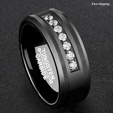 8Mm Black Tungsten Carbide Ring Diamonds Inlay Comfort Fit Wedding Band Bridal