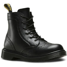 Dr Martens Delaney Y Brogue Black Leather Youth Ankle Boots