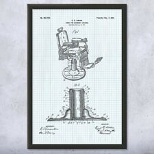 Framed Koken Barber Chair Patent Art Print Gift Barber Shop Art, Barber Gift