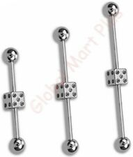 1 Industrial Scaffold Barbell Earring Double Belly Button Ring Dice Die 14g