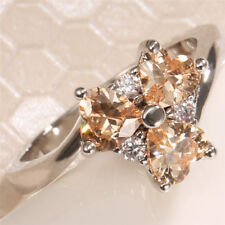 Natural 1.1Ct Heart Champagne Topaz Gemstone 925 Silver  Wedding Ring Size 6-10