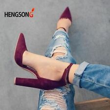 Pointed Strappy Pumps Sexy Retro High Thick Heels Shoes