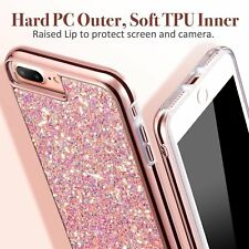 For iPhone 7 7 + Sparkle Shockproof Dual Layer Bling Glitter TPU Skin Cover Case