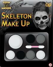 Make Up Palette Skeleton Fancy Dress Black Grey White Applicator Brush Halloween
