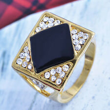 Mens yellow gold plated clear Crystal Square black Enamel Ring size 9 10 11