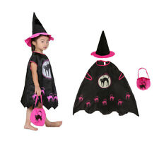 Adult Kids Girls Halloween Witch Costume Set Cosplay Party Fancy Dress Outfit