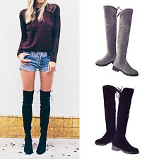 Womens Ladies Low Heels Boots Over Knee High Suede Boots Casual Lace Up Shoes
