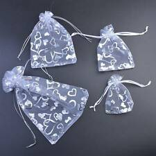 White Heart Printed Organza Bags Wedding Gift Favour Pouch Jewellery 7x9 9x12