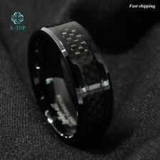 Men's jewelry Tungsten Ring with Carbon Fiber 8mm Black Wedding Band