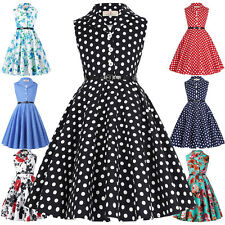 Kid Floral Printed/Polka Dots Sleeveless Children's Dress 50s Vintage Retro Girl