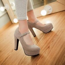 Sexy Womens Suede Very High Block Heels Platform Black Mary Janes Pumps Shoes