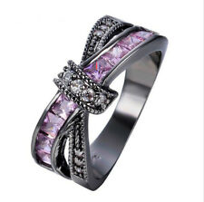 1.93ct Pink Sapphire Black Gold Filled 925 Silver Ring Wedding Jewelry  Size6-10