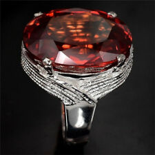Women Man 925 Silver Huge 5.5ct Ruby Wedding Bridal Cocktail Ring Size 6-10