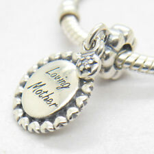 Authentic Genuine S925 Sterling Silver Loving Mother Clear Cz Dangle Charm