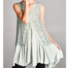 SOUTHERN GIRL FASHION Lace Swing Tunic Mint Floral Embroidered Mini Dress S M L