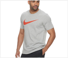 NWT Nike DRY Swoosh Men's DRI-FIT cotton Tee, Heather Gray 839893-063