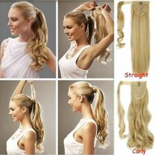 US 100% Natural Soft Clip In human Hair Extension Pony Tail Wrap Around Ponytail