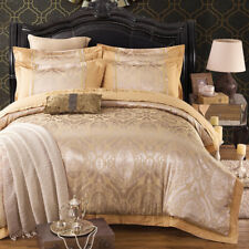 Luxury Gold Jacquard Duvet Cover 4Pcs Set Pillow Cases Sheets Comforter Cover