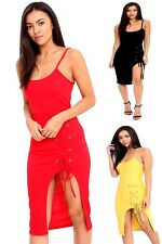 New Womens Ladies Eyelet Detail Lace Up Sleeveless Bodycon Midi Dress Size 8-14