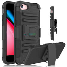 Shockproof Rugged Clip Holster Stand Hard Armor TPU Cover Case for iPhone 8 Plus