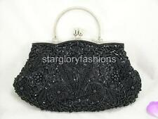Chic Black Sequined Beaded Flowers Evening Party Handbag Purse & Other Colors