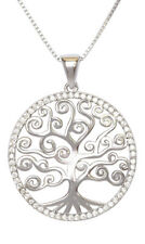 Tree of life Filigree Sterling Silver 925 Cubic Zirconia Pendant Necklace
