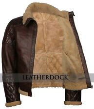 Mens Brown Hooded Real Sheep Fur Lined B3 Bomber Leather Jacket